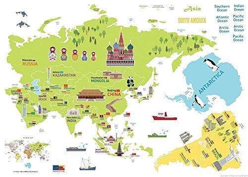 Ambiance-Live Carte Géant Mondial Sticker Mural pour Les Enfants 120 x 150cm
