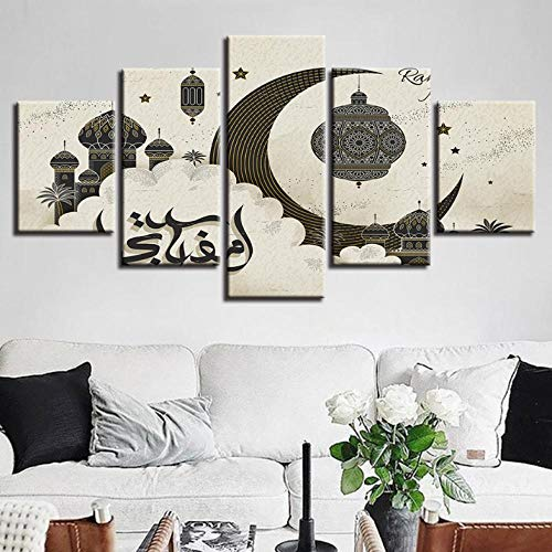 Zum Aufhängen bereit - Leinwand HD Drucke Bilder Wohnkultur 5 Stücke Islam Allah Der Koran Malerei Wohnzimmer Wandkunst Muslimischen Ramadan Poster Gerahmt - Bild auf Leinwand fünfteilig