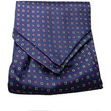 UOMO VARI ascot di seta foulard da collo CASHE COL BLU con disegni a FIORI  SETA 8f797afa009
