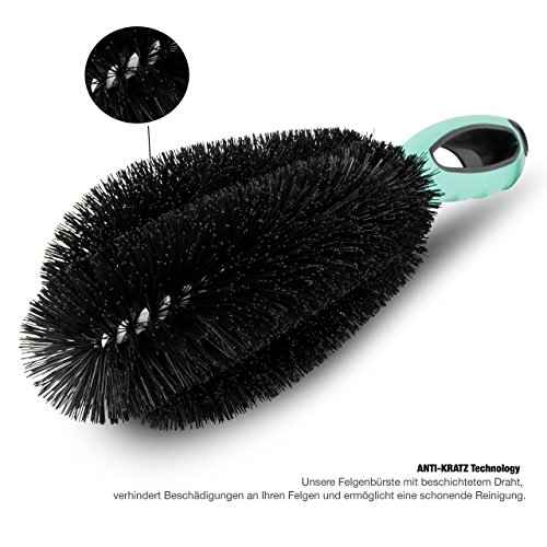 ANVY Premium Felgenbürste für eine schonende und schnelle Reinigung von Alu- und Stahl Felgen. Mit Anti-Kratz Technology, eine Reinigungsbürste für Ihr Auto, Motorrad oder Fahrrad