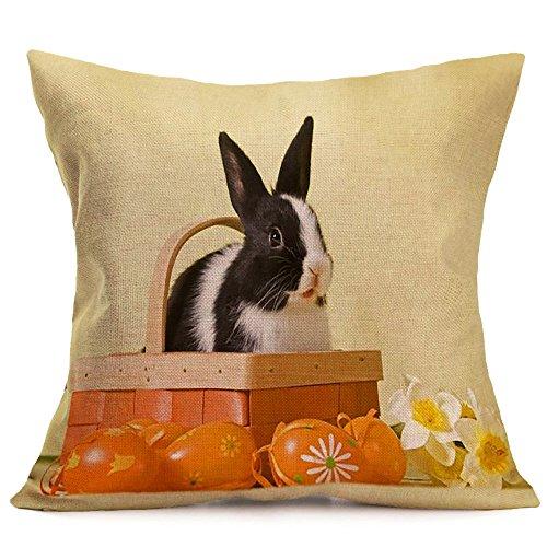 Baumwolle und Leinen 43×43 Freizeit Kissenbezug Ostern Schutzbezüge Kaninchen Print Kopfkissenbezug JMETRIC(Q)