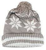 trendBOUTIQUE - Damenmütze Mütze Strick-Look Beanie mit Bommel Norwegermuster 191