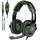 Sades sa-9303,5mm Gaming Headsets mit Mikrofon Geräuschunterdrückung Musik Kopfhörer für PS4Neuen Xbox One Laptop Tablet PC Handys (Grün)