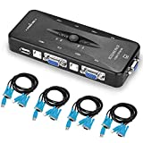 Switcher KVM USB KVM, AGPtek 4 Porte Switch box KVM USB 2.0, scambio con un solo pulsante, 4 cavi VGA inclusi, ideale per PC, tastiera, mouse, scanner, stampante e altro