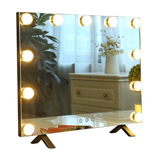 Moolo Schminkspiegel Make-up-Spiegel-Metall-intelligente quadratische LED-Birne Desktop-Eitelkeits-Spiegel-DREI Farben-Fülle-Lampe - Drei Licht-eitelkeit-wand-lampe