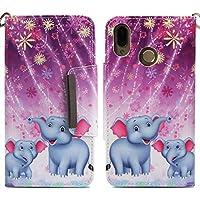 Für Huawei P20 Lite Leder Brieftasche Hülle mit Muster [Feuerwerk Elefant] und Schutzfolie,QFUN Bookstyle Klappbar Handyhülle,Magnetverschluss Schutzhülle mit Kartenfach,Standfunktion,Stoßfest Anti-Rutsch Cover Flip Case für Huawei P20 Lite