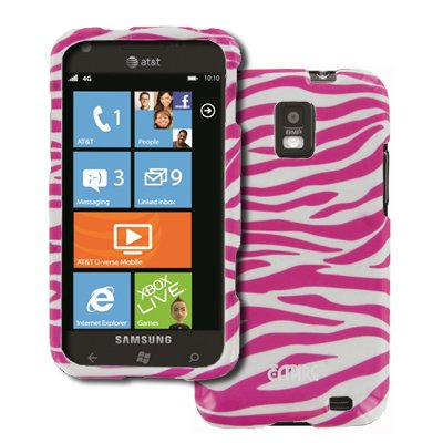 EMPIRE Samsung Focus S I937 Design Case Étui Coque Cover Couverture (Pink Rosa and Blanc Zebra Stripes) + Voiture de pare-brises + Films de protection d'écran + Voiture Chargeur