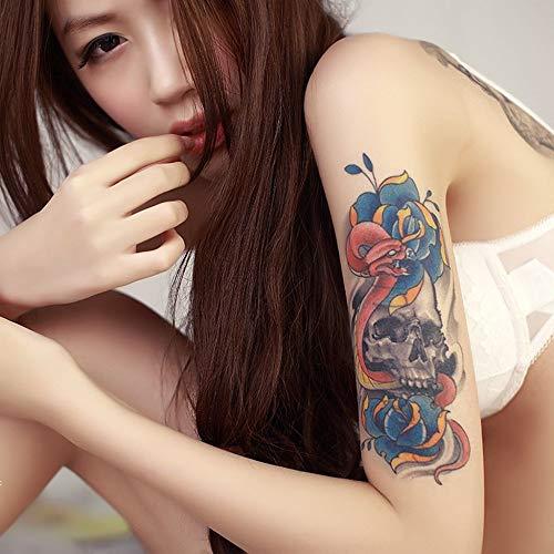 tzxdbh Arm-Tätowierungsaufkleber der Blume 7Pcs wasserdichte Männer und Frauen dauerhafter realistischer rosafarbener, Uhrtätowierungsgrün-halber Armaufkleber YF-H010 12 u. Zeiten; 19cm (Burton Burton Teekanne)