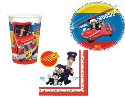Image of Postman Pat Party Set - Includes Napkins, Cups and Plates Tableware Supplies