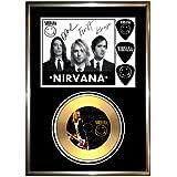 Golddiscdisplays - Cuadro con disco de oro firmado y foto de Nirvana (enmarcado)