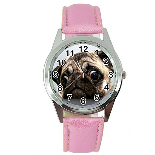 TAPORT® Reloj de Cuarzo para Perro con Correa de Piel Rosa + batería de Repuesto + Bolsa