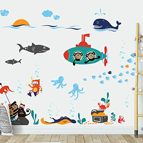 Cartoon Tier Aufkleber Marine Wandaufkleber Tapetendekoration Junge Kinderzimmer Schlafzimmer Wandaufkleber Kindergarten Wandaufkleber -