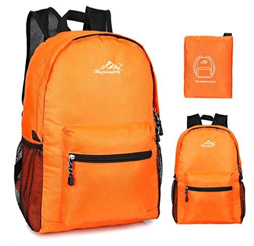 Super Modern Unisex Nylon Sport Rucksack Schule Tasche faltbar Rucksack Wasserdicht Wandern Rucksack Cool Leichte Laptop-Tasche iPad Rucksack Orange