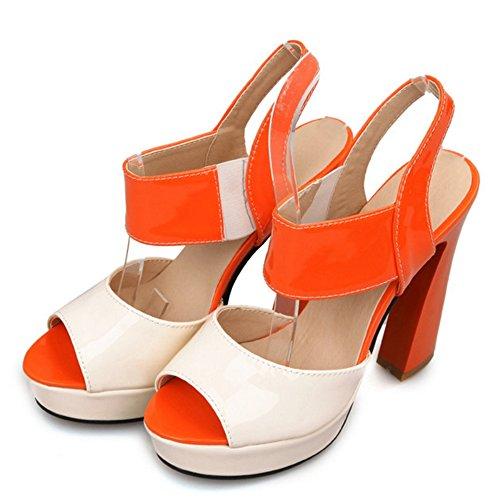 COOLCEPT Femmes Elegant Peep Toe Bloc Sandales Slingback Talon hauts Soiree Chaussures Orange