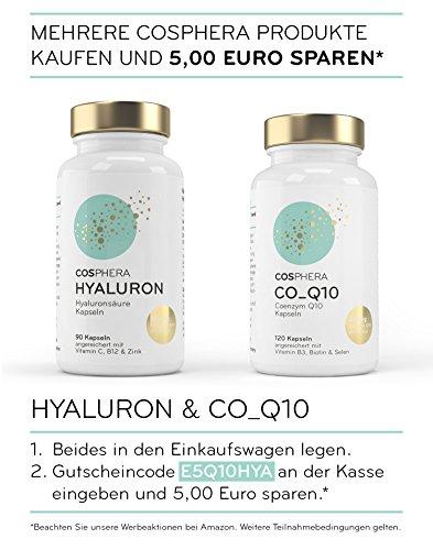 Hyaluronsäure Kapseln – Hochdosiert mit 350 mg pro Kapsel. 90 vegane Kapseln im 3 Monatsvorrat – 500-700 kDa – Angereichert mit Vitamin C, B12 und Zink – Für Haut, Anti-Aging und Gelenke – Cosphera - 6