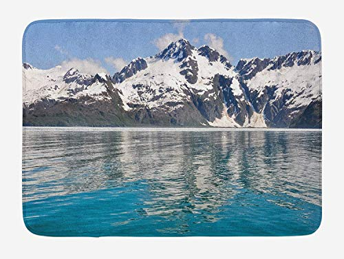 Möbel Turtle Bay (JIEKEIO Alaska Bath Mat, Aialik Bay Kenai Fjords Arctic Landscape Northern American Idyllic, Plush Bathroom Decor Mat with Non Slip Backing, 23.6 W X 15.7 W Inches, Aqua Sky Blue Forest Green)