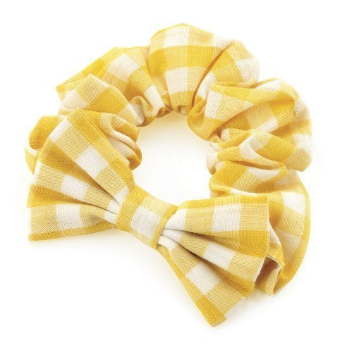 Girls Yellow Gingham Bow Hair Scrunchie AJ28155 by I Heart Fashion ()