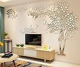 ColorfulworldPegatinas de pared en 3D Pegatinas de pared en forma de árbol en pareja en cristal de bosque acrílico con hojas multicolores (XL, sliver-right)