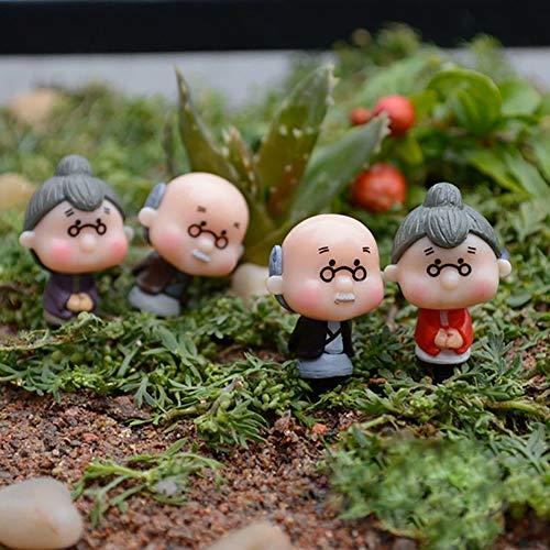 little finger 4 Stück Miniatur-Puppe Old Granny Opa Puppe Ornamente Haus Garten Basteln Dekoration