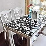 Eeayyygch PVC-Weichglas-Tischdecke, Tischdecke, Tischdecke, Öldicht, für den Haushalt, Kristall-Teller, wasserfest, Einweg-Couchtisch, Esstisch, B 90 x 150 cm (Farbe: F, Größe: 70 x 130 cm)