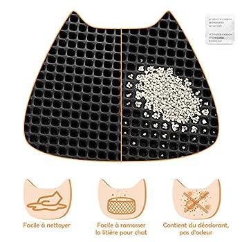 LOETAD Tapis Litière Chat Litière pour Chats EVA Imperméable Pliable Trou en nid d'abeille L Taille Non Toxique Durable pour Maison Extérieur