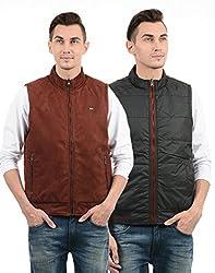 Monte Carlo Men Casual Jacket(_8907679117706_ Rust Black_XX-Large_)
