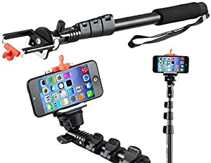 Yunteng YT188 Selfie Stick 4 Section Retractable Extendable Monopod & Remote Shutter (Perfect for Digital Camera, Camcorder, GoPro Hero Camera, Smartphone(iPhone 6 5S 5C 5 4S, Galaxy S5 S4 S3 Note 3 2, Nexus 4, HTC One, One 2 and Most Cell Phone)