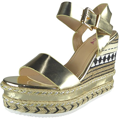 Femmes Sangle de cheville Espadrilles Plateforme Coin Des sandales Taille 36-41 Or