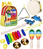 Smarkids Toddler Toys Musical Instruments Set Musical Percussion Instrument Toy for Kids Preschool Educational Toys Including Xylophone Flute Tambourine Maracas with Backpack