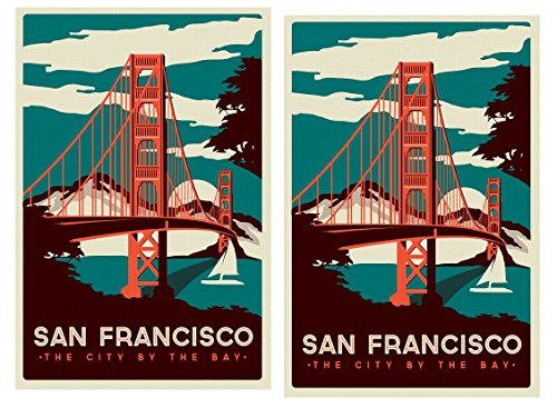 24/7stickers TR030/2x San Francisco Aufkleber 6x8,5cm Work & Travel Reise USA Golden Gate Bridge Westküste Florida V8 Oldtimer -