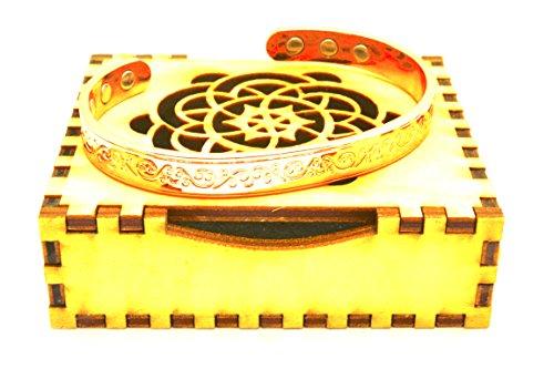 Kupfer Armband für Arthritis in Atemberaubende Holz Geschenk Box; Magnettherapie (6in interne eingebettet Gesicht); Schönes klassisches Design; häufigsten getragen für Schmerzlinderung - 6 Geschenk-boxen Zoll