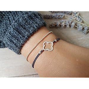 Armband Kleeblatt Kugelkette 925 Silber