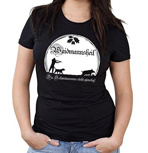 Waidmannsheil Girlie Shirt | Jagd | Jäger | Wildschwein | Wild | Förster | Damen | Frauen | Revier | Keiler | Hirsch | Fun (XL, Schwarz) (Jäger Frauen)