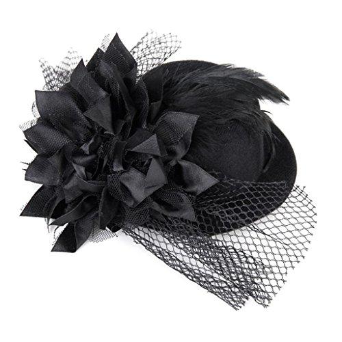 1x toruiwa Top Hat Frauen Burlesque Fancy oder Hat schwarzes Haar Clip verziert mit Blume Feder Damen Fancy Dress Zubehör für Make-up Party Ball - Schwarzes Top Hut Kostüm