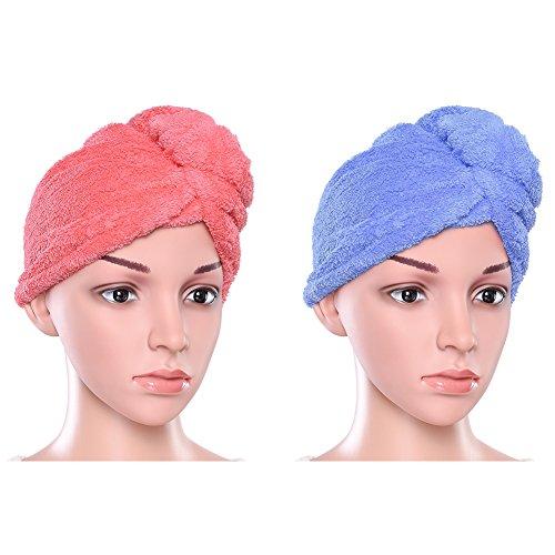 Pretty See 2Pcs Turbante Toalla para el Pelo Toalla Microfibra Pelo Secado Rápido para Baño, Spa, Maquillaje (Azul + Rojo))