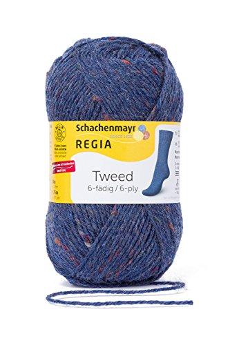 REGIA 6-fädig Tweed 9801623-00052 jeans tweed Handstrickgarn, Sockengarn, 50g Knäuel -