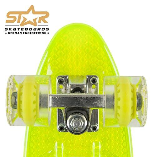 STAR-SKATEBOARDS® Vintage Cruiser Board ★ 22er Trendy Transparent Edition ★ Gecko Grün -