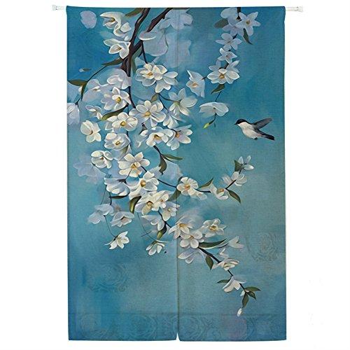 Icegrey noren tenda per porta con barre di tensione anteriore in lino noren giapponese tende classiche e drappeggi tappezzeria rondini acquerello 85 x 170 cm