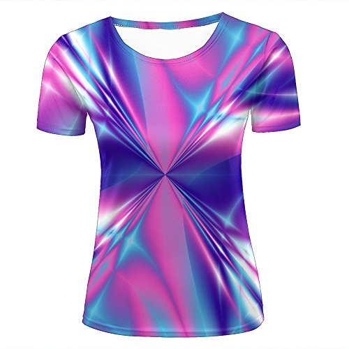 t Pink and Blue Swirl Creative Gradient Short Sleeve Summer T-Shirts Fashion Graphic Tees XXL ()