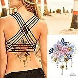 Handaxian 3 Piezas Tatuaje Pegatina Cuerpo Arte Impermeable Mujer Encaje joyería Flor Tatuaje
