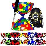Juggle Dream / Flames N Giochi Jester PRO Diabolo + Bastoncini in Alluminio anodizzato Inclusi Diablo Rope + Travel Bag (Multicolore)