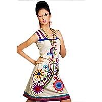 1545 Designs Da donna Plus Size cotone bianco senza maniche ricamato