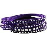 Crystalp Fancy Mesh Wickelarmband mit SWAROVSKI CRYSTALS Armband violett lila Armschmuck Alcantara Armbänder Modeschmuck Kristallschmuck NEU
