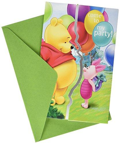 Winnie the Pooh-Block 6Einladungen zur Party Winnie 2013