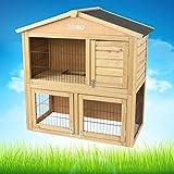 Hasenstall / Kaninchenstall ANNA aus Holz mit Freilaufgehege, 100x55x100 cm, für Hasen & Kaninchen im Sommer & Winter - TIMBO Hasenkäfig und Kaninchenstall -