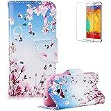 Funyye funda para Samsung Galaxy J32016de piel Carcasa y protector de pantalla