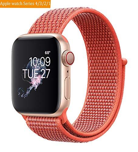 Naomo Kompatibel mit Watch Armband 38mm/40mm, Weiches Nylon Ersatz Uhrenarmband Ersatz für Watch Series 4, Series 3, Series 2, Series 1 (38mm/40mm, Nektarine)