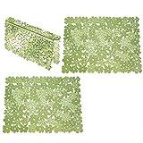 mDesign 3er-Set große Spülbeckeneinlage aus Kunststoff – florale Abtropfmatte zum Schutz gegen Kratzer – Schutzmatte für Doppelspülbecken – grün