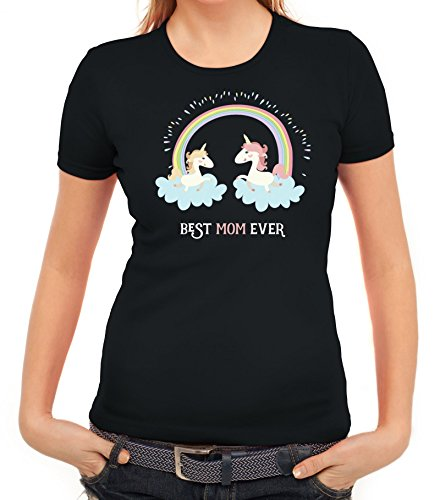 Einhorn Muttertag Damen T-Shirt mit Unicorn Best Mom Ever von ShirtStreet Schwarz