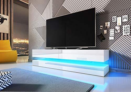 VIVALDI Mueble para TV - FLY - 140 cm - Blanco Mate con Blanco Brillante con iluminación LED Azul - Estilo Design